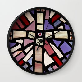 Pink Cross stained glass mosaic Wall Clock