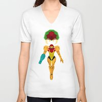 metroid V-neck T-shirts featuring Metroid by A Strom