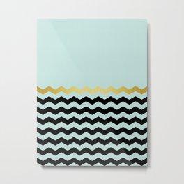 Chevron golden blue Metal Print