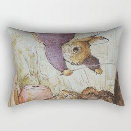 Bunny vs Kitty Rectangular Pillow