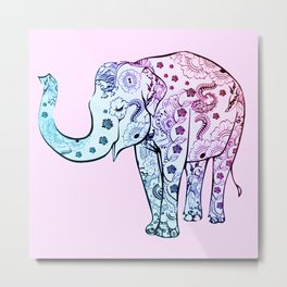 Painted Elephant Metal Print
