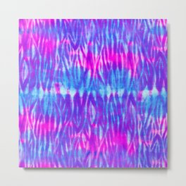 Bright Blue and Purple Shibori Metal Print