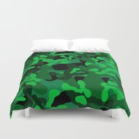 camouflage Duvet Covers featuring Camouflage (Green) by 10813 Apparel
