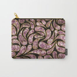 Gold Amethyst Paisley pattern Carry-All Pouch