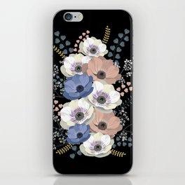 Anemones bouquet in black iPhone Skin