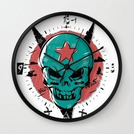 Skull in cartoon style. Wall Clock