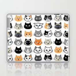 Cute Cats | Assorted Kitty Cat Faces | Fun Feline Drawings Laptop & iPad Skin