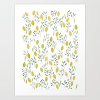 Pattern with lots of leaves Art Print