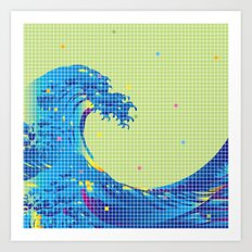 Great Wave in checked pattern_H Art Print