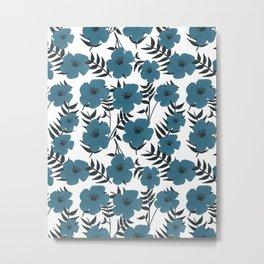 Blue Flowers with Banana Leaves Metal Print