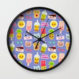 Hello Summer Pineapple, cherry smoothie cup, ice cream, sun, cat, cake, hamster. Kawaii cute face. Wall Clock