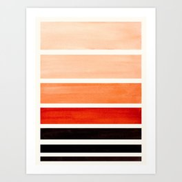 Brown Minimalist Watercolor Mid Century Staggered Stripes Rothko Color Block Geometric Art Art Print