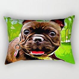 french bulldog basketball vector art Rectangular Pillow
