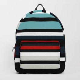 Pattern stripes . Blue , red , white , gray , black . Backpack