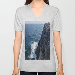 Ocean Cliff Side in the Cayman Islands Unisex V-Neck