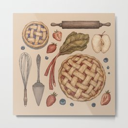 Pie Baking Collection Metal Print