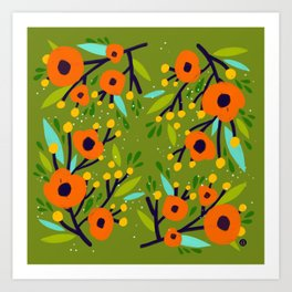 Leta Floral in Olive Green - Vintage Retro Flowers - Digital Painting Art Print