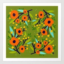 Leta Floral in Olive Green - Vintage Retro Flowers - Digital Painting Art Print