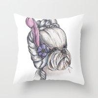 shih tzu Throw Pillows featuring 18th Century Shih-Tzu by Michelle J Poston