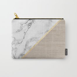 Modern white marble gold stripe wood color block Carry-All Pouch