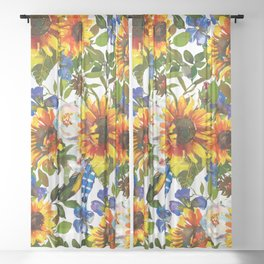 Navy blue yellow orange watercolor sunflower floral Sheer Curtain