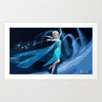 frozen elsa Art Prints featuring Elsa | Frozen by EcaJT
