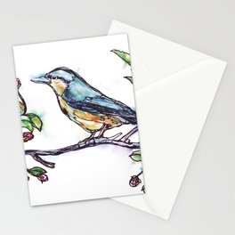 Bird on a Branch (drawn with one, continuous line) Stationery Cards