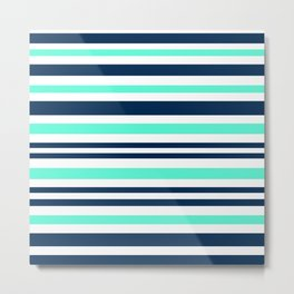 Beautiful Striped , blue , turquoise , white Metal Print