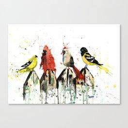 Birds on a Fence - Judgey Birds Canvas Print