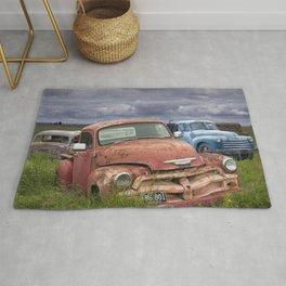 Vintage Auto Bodies in a Junk Yard Rug