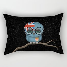 Baby Owl with Glasses and Fiji Flag Rectangular Pillow