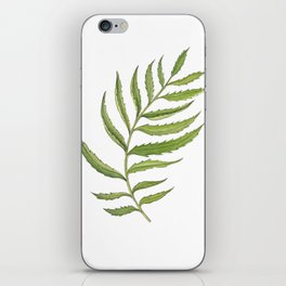 Green Marigold Leaf handpainted with watercolor now available in digital prints iPhone Skin