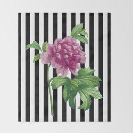 Pink Peony Black Stripes Chic Throw Blanket