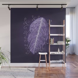 Violet Swirly Leaf Wall Mural