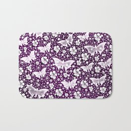 purple,siilver,flowers, stars, butterfly, pattern, bright, shiny, elegant, color Bath Mat
