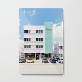 Patel Buildings Retro Miami Metal Print