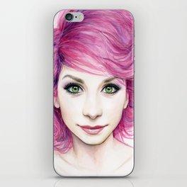 Pink Hair Green Eyes Beautiful Girl iPhone Skin