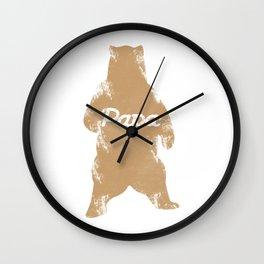 Big Papa Bear Hug Gift For Dad Father Grandfather Family Wall Clock