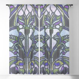 Blue and Green Glowing Art Nouveau Stain Glass Design Sheer Curtain