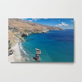 The old woman's jump beach in Andros island, Greece Metal Print