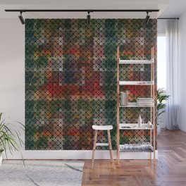 Grid on a red-green grunge Wall Mural