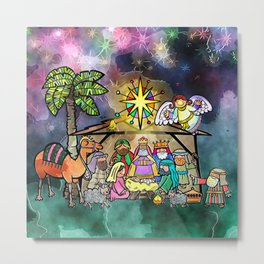 Christmas Nativity Watercolour Painting Metal Print