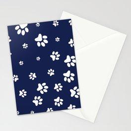 White Pet paw pattern on Navy Blue background Stationery Cards