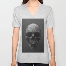 Geometric Grey Skull Lines Unisex V-Neck
