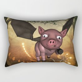 Funny little piglet with wings Rectangular Pillow