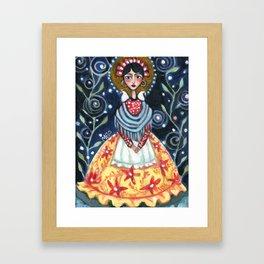 Frida at Night - A Frida Kahlo Tribute Painting Framed Art Print