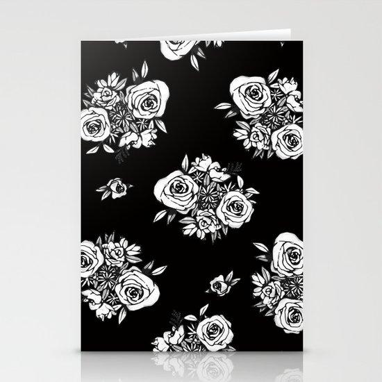 Black Flower Pattern White Flowers by missanniekay