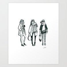 Brush Pen Fashion Illustration - East Coast Girls Art Print