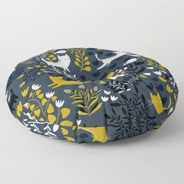 Cats and Flowers Pattern Floor Pillow