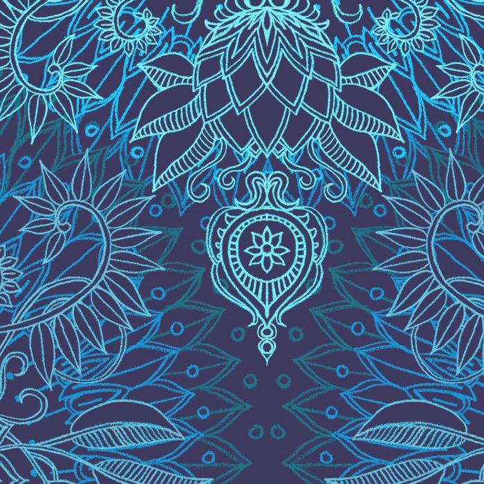 Aqua, Cobalt Blue & Purple Protea Doodle Pattern Leggings